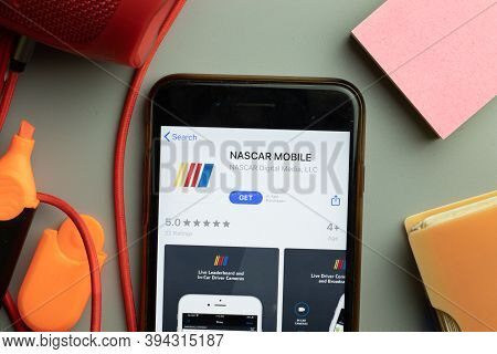 New York, United States - 7 November 2020: Phone Screen Close-up With Nascar Mobile App Logo On Disp