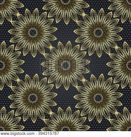 Tapestry Floral Abstract 3d Vector Seamless Mandala Pattern. Ornamental Textured Background. Decorat