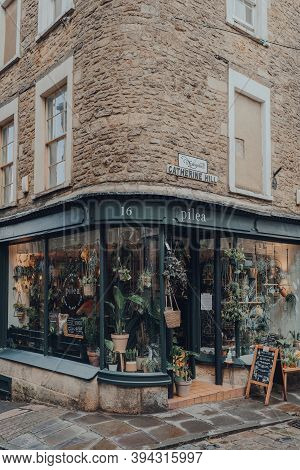 Frome, Uk - October 06, 2020: Exterior Of Pilea Plant Shop On A Street In Frome, A Market Town In Th