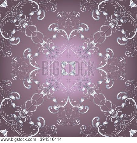 Vintage Floral Vector Seamless Pattern. Ornamental Pink Background With Silver Renaissance Flowers,