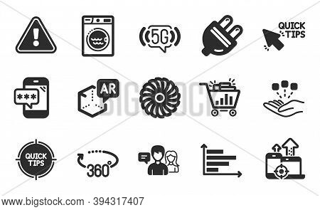 Horizontal Chart, Electric Plug And 5g Wifi Icons Simple Set. Consolidation, Quick Tips And Fan Engi