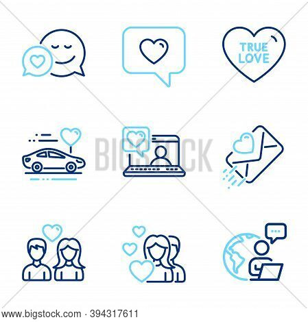 Love Icons Set. Included Icon As Dating, True Love, Couple Love Signs. Honeymoon Travel, Friends Cha