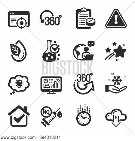 Set Of Science Icons, Such As Full Rotation, Medical Prescription, Seo Targeting Symbols. Time, Free