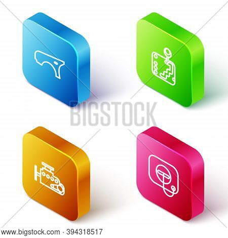 Set Isometric Line Car Fender, Gear Shifter, Engine And Oil Filler Cap At Gas Station Icon. Vector