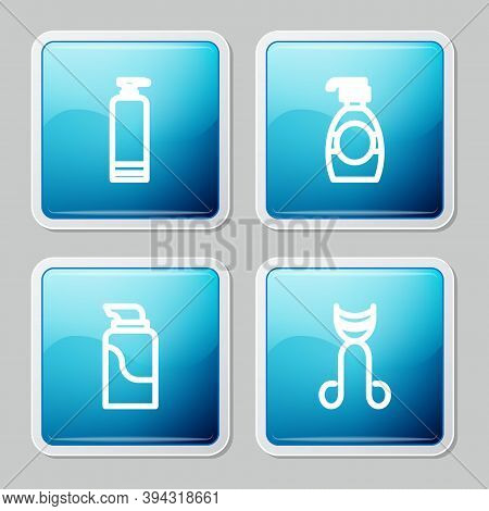 Set Line Cream Cosmetic Tube, Bottle Of Liquid Soap, And Eyelash Curler Icon. Vector