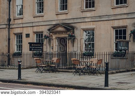 Bath, Uk - October 04, 2020: Empty Outdoor Tables Of Apple Tree Bed And Breakfast In Bath, The Large