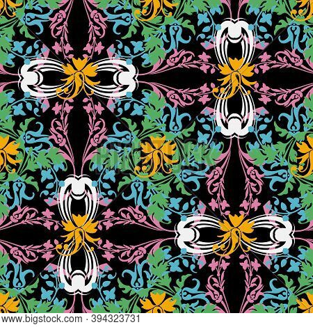 Vintage Colorful Floral Renaissance Style Vector Seamless Pattern. Ornamental Flourish Baroque Backg