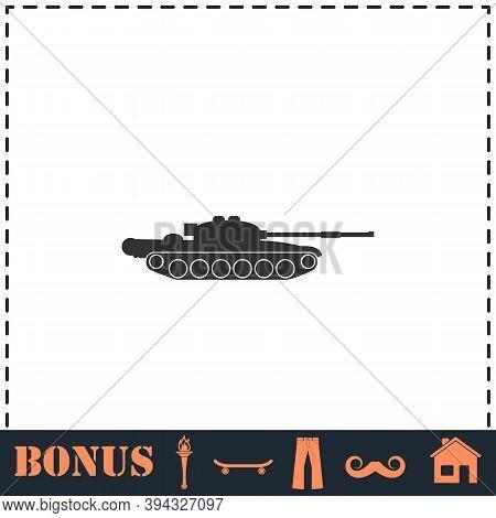 Tank Army Icon Flat. Simple Vector Symbol And Bonus Icon