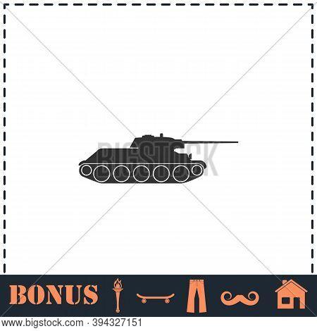 Tank Military Icon Flat. Simple Vector Symbol And Bonus Icon