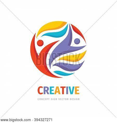 Creative Friendship People Concept Vector Logo Design. Teamwork Concept Illustration. Human Characte