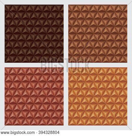3d Triangles Pyramids, Earth Tone Orange Color Backgrounds Set. Geometric Hexagons, Diamonds Shape,