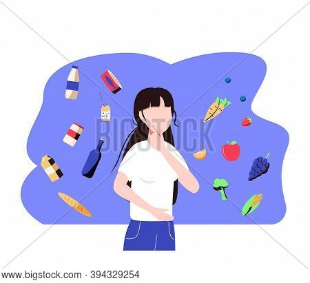 Woman Choosing Between Healthy And Unhealthy Food. Character Thinking Over Organic Or Junk Snacks Ch