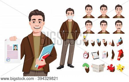 Stock Vector Businessman Cartoon Character In Flat Style, Pack Of Body Parts, Emotions And Things. Y