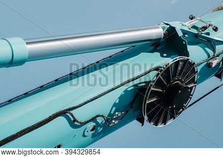 Hydraulic Cylinder Of The Lifting System On A Car Crane.the Control System Of The Crane Engine.lifti