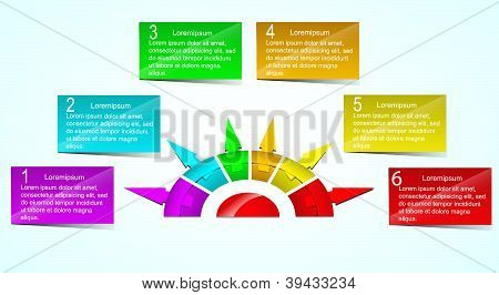 Business Presentation Diagram with different colored fields for text and statistics poster