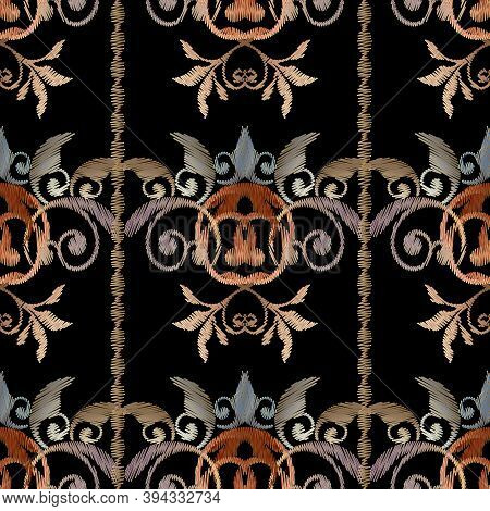 Striped Embroidery Baroque Seamless Pattern. Damask Tapestry Background Wallpaper. Vector Grunge Tex
