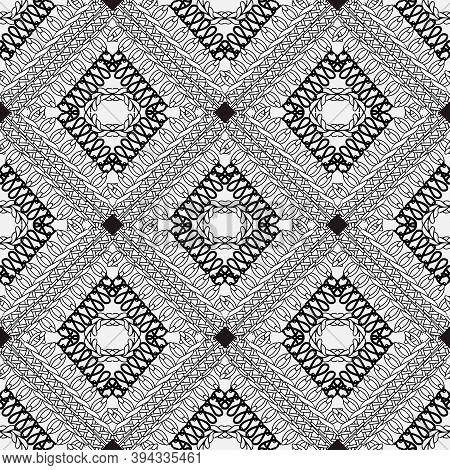 Stitching Black And White Ornamental Vector Seamless Pattern. Knitting Geometric Shapes, Rhombus, Cu