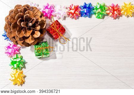 Beautiful Christmas Decoration On An Old Wooden Background.