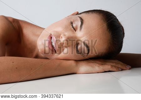 Side View Of Attractive Young Woman Sleeping Well. Teenage Girl Resting, Good Night Sleep Concept.