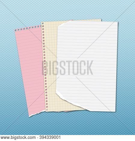 Torn Of White And Colorful Stacked Lined Note, Notebook Paper Are On Blue Background For Text, Adver