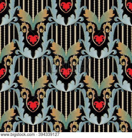 Striped Embroidery Baroque 3d Seamless Pattern. Vintage Vector Textured Background. Abstract Grunge