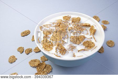 Bran Flakes With Milk, Healthy Breakfast, Top View