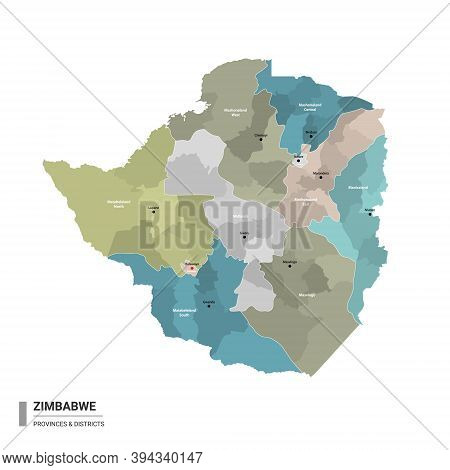 Zimbabwe Higt Detailed Map With Subdivisions. Administrative Map Of Zimbabwe With Districts And Citi