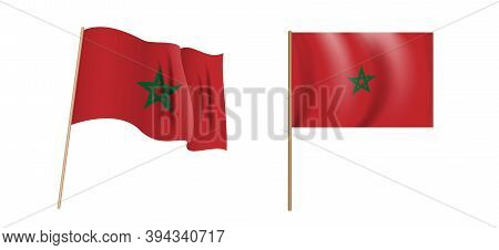 Colorful Naturalistic Waving Flag Of The Kingdom Of Morocco. Vector Illustration.