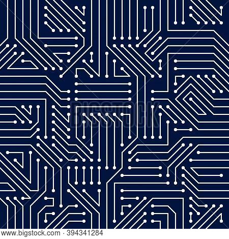 Motherboard Board Seamless Pattern, Vector Background. Circuit Board Technology Electronics Wallpape