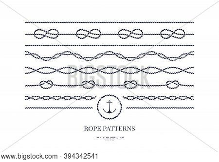 Set Of Nautical Rope Seamless Patterns. Yacht Style Design. Vintage Decorative Elements. Template Fo