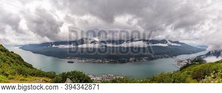 Panoramic View Of Port Of Gastineau Channel, Port Of Juneau And Mountains Covered With Clouds From T