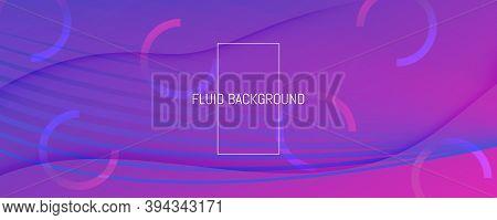 Blue Fluid Stripes. Technology Elements. 3d Futuristic Background. Wavy Color Poster. Fluid Stripes.
