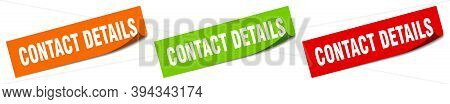 Contact Details Sticker. Contact Details Square Isolated Sign. Contact Details Label