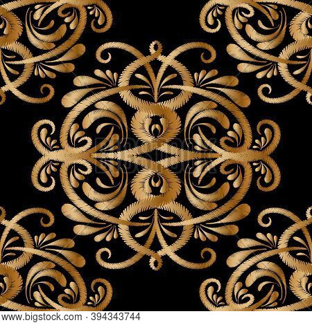 Embroidery Gold Paisley Vector Seamless Pattern. Tapestry Ornamental Floral Background. Embroidered