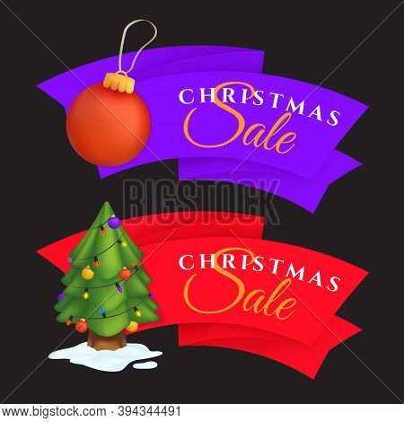 Christmas Sale Labels Set With Decorated Evergreen Tree And Red Decoration Ball. Vector Illustration