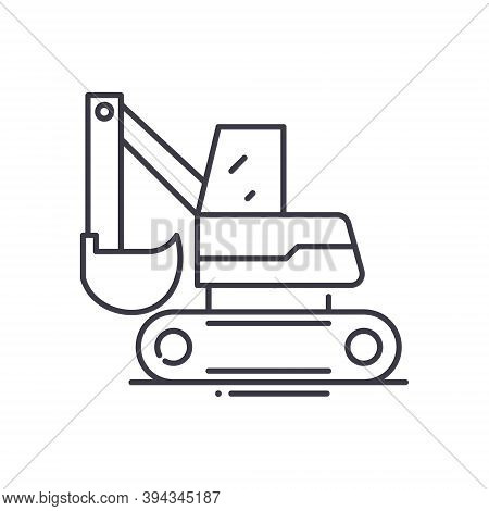 Backhoe Excavator Icon, Linear Isolated Illustration, Thin Line Vector, Web Design Sign, Outline Con