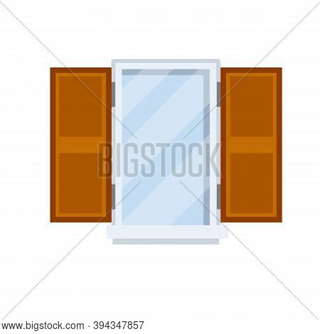 Window With Open Wooden Sashes. Glass And White Frame.