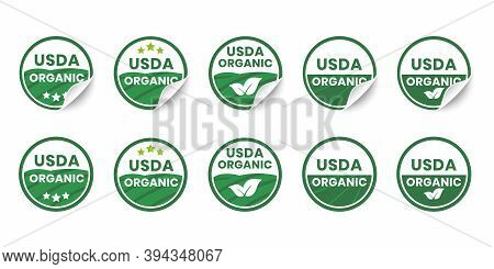 Usda Organic Certified Icons. Set Of Realistic Stickers With Rolled Up Corners. Round Organic Certif