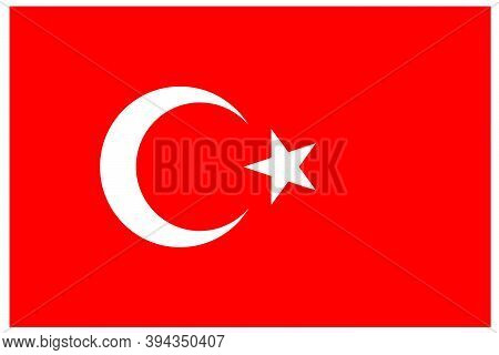 Turkish Flag With Correct Ratios. Vector Illustration Suitable For All Occurences.