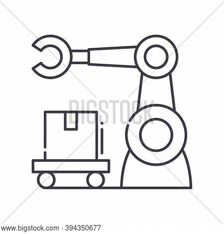 Automation Production Line Icon, Linear Isolated Illustration, Thin Line Vector, Web Design Sign, Ou