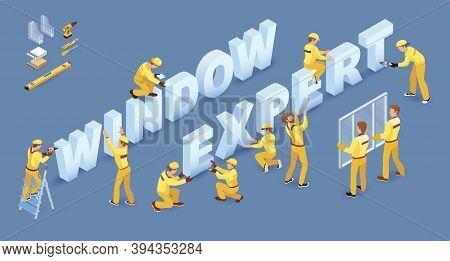 Team Of Workers And Isometric Words Window Expert. Vector 3d