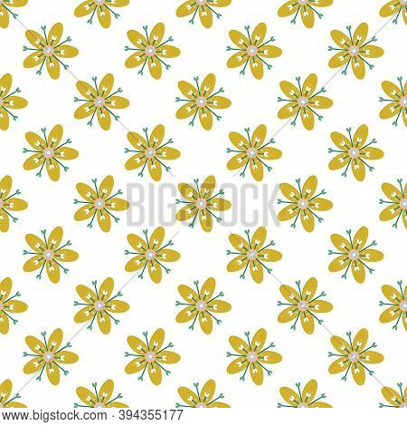 Vector Illustration Of Yellow Tropical Flowers Seamless Repeat Pattern On A White Background.