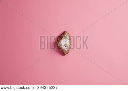 Small Sweet Fresh Soft Baked Bun Sparkled With Sugar, Isolated On Pink Background. Confectionery Bak