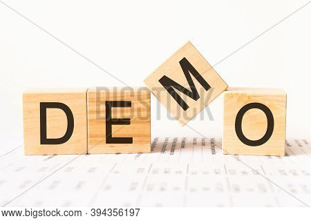 Word Demo Made With Wood Building Blocks, Stock Image