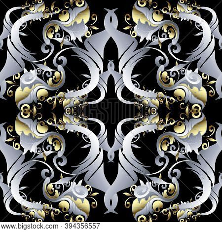 Vector Baroque Floral Seamless Pattern. Antique Renaissance Background. Gold Silver Vintage Scroll L
