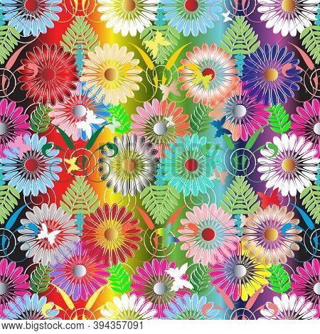 Bright Colorful Floral Vector Seamless Pattern. Abstract Summer Spring Multicolor Background. Modern