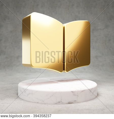 Open Book Icon. Gold Glossy Open Book Symbol On White Marble Podium. Modern Icon For Website, Social