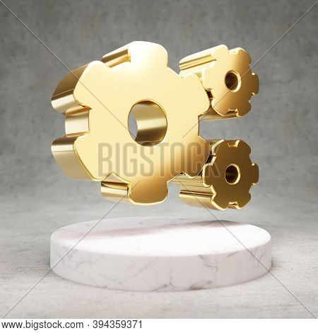 Cog Wheels Icon. Gold Glossy Cog Wheels Symbol On White Marble Podium. Modern Icon For Website, Soci