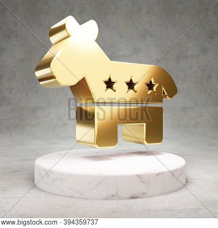 Democrat Icon. Gold Glossy Democrat Symbol On White Marble Podium. Modern Icon For Website, Social M