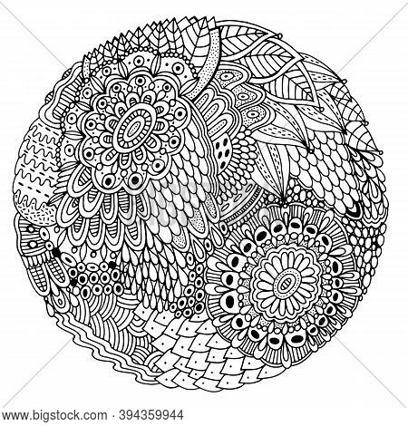 Floral Mandala With Flowers And Leaves. Doodle Shamanic Coloring Page For Adults. Abstract Trippy Pa